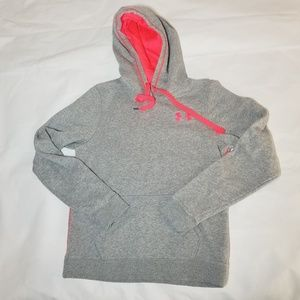 B28 womens under armour hoodie gray pink size M